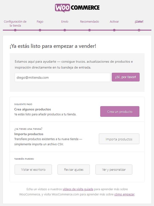Fin del asistente de configuración para WooCommerce