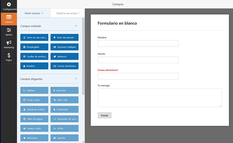 Creando un formulario con WPForms