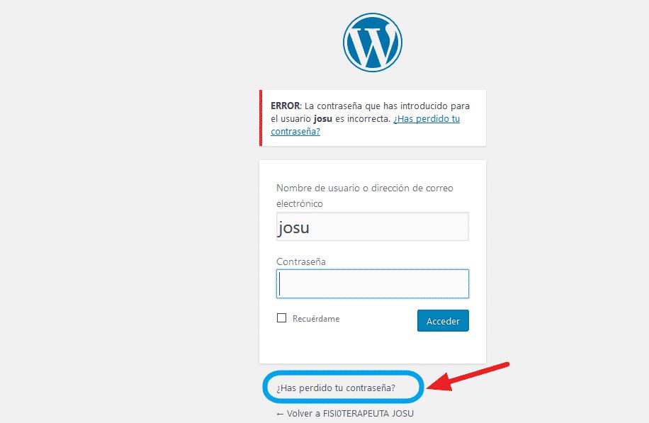 olvidar contraseña wordpress emergencias josu