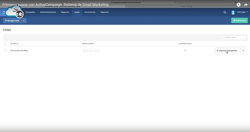 Crear lista e importar suscriptores en Active Campaign