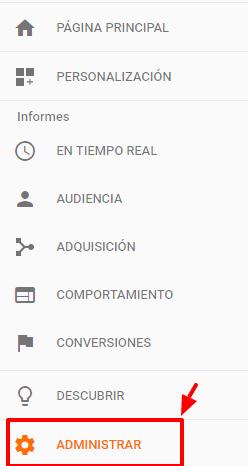 Google Analytics: Administrar ajustes.