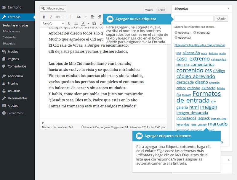 Agregar etiquetas en wordpress