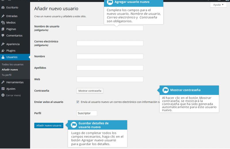 Agregar usuario en wordpress