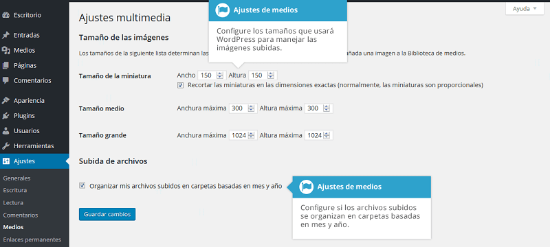 Ajustes de medios en wordpress