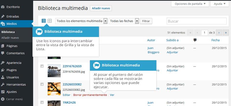 Biblioteca multimedia vista lista