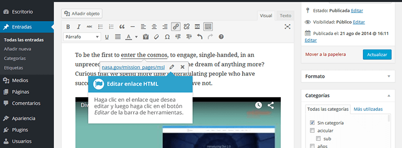 Editar enlaces html en wordpress