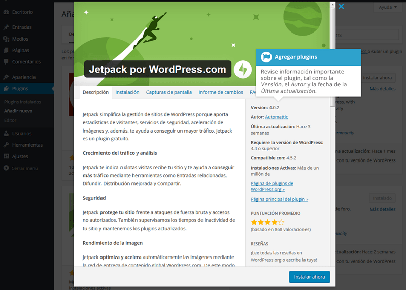 Información de plugins en wordpress