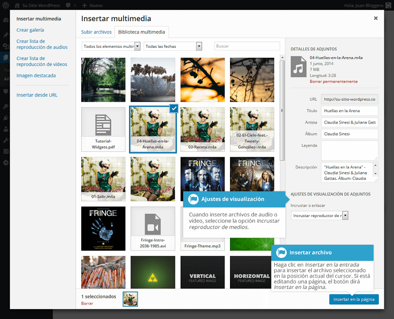 Insertar multimedia en WordPress
