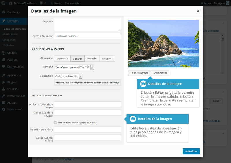 Opciones avanzadas de edición de imágenes en WordPress