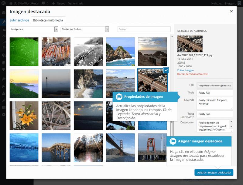 Insertar galería de imágenes en WordPress