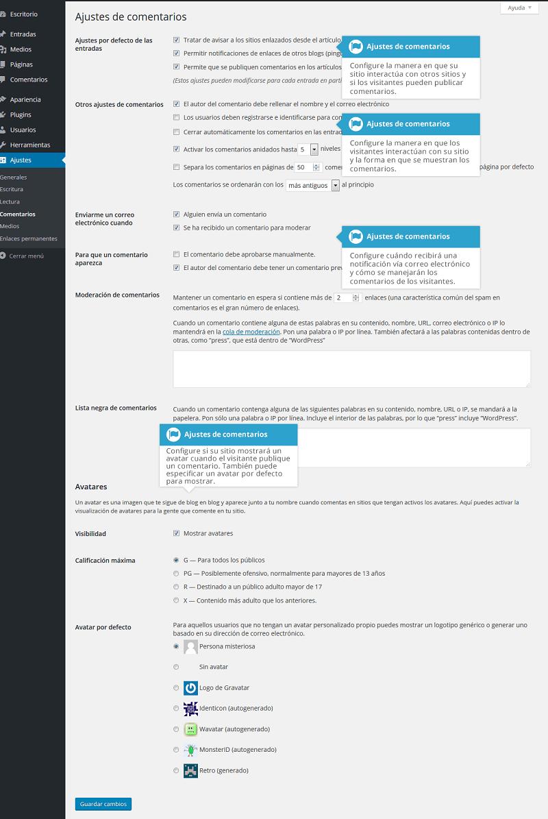 Ajustes de comentarios en wordpress