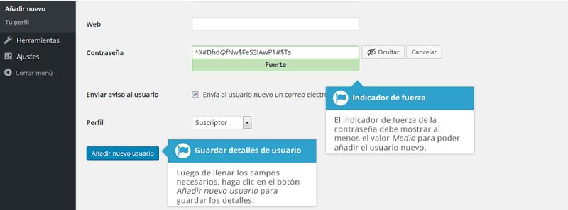 Contraseña de usuario en wordpress