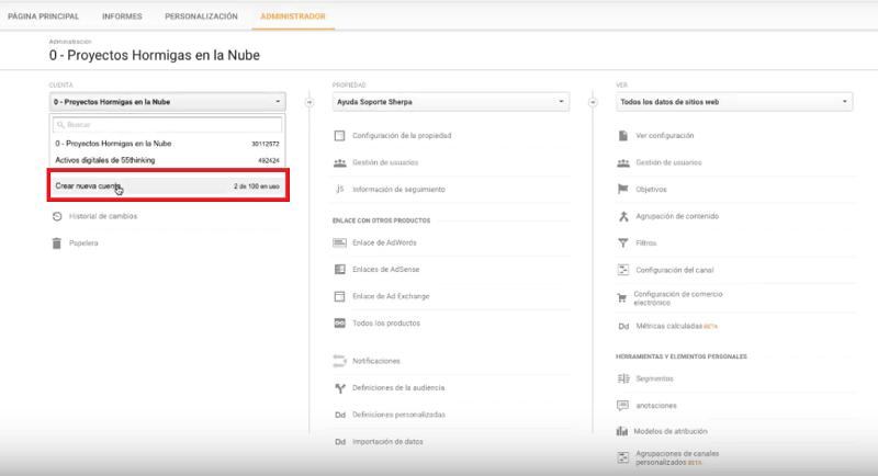 crear cuenta en Google Analytics