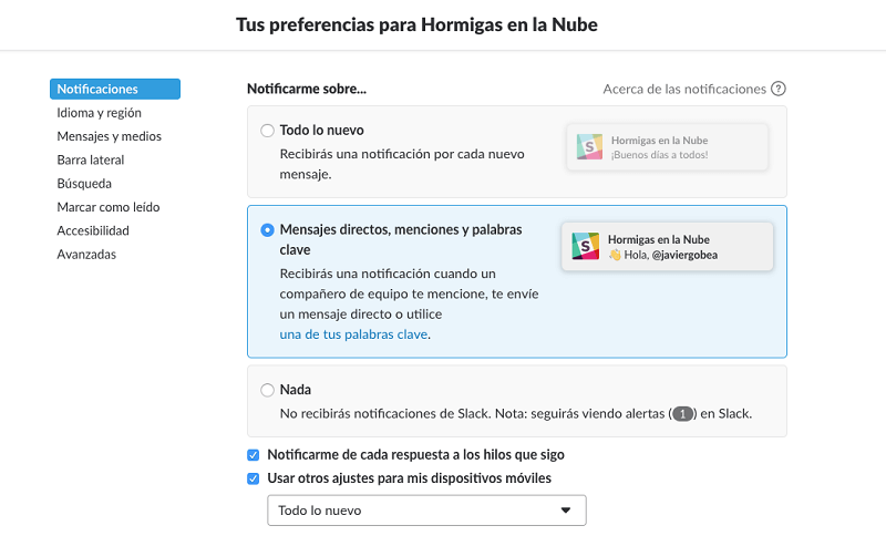 Tutorial de slack: notificaciones